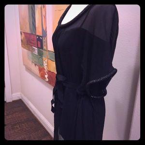 NWOT DVF 💯silk black dress with beaded trim